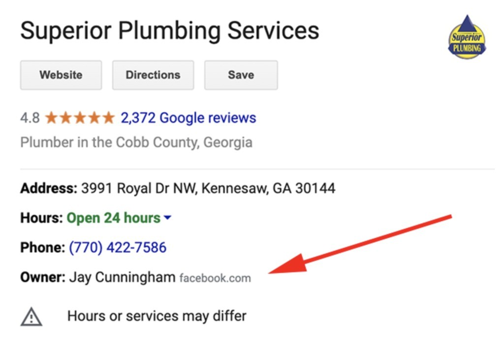 Google my business listing.