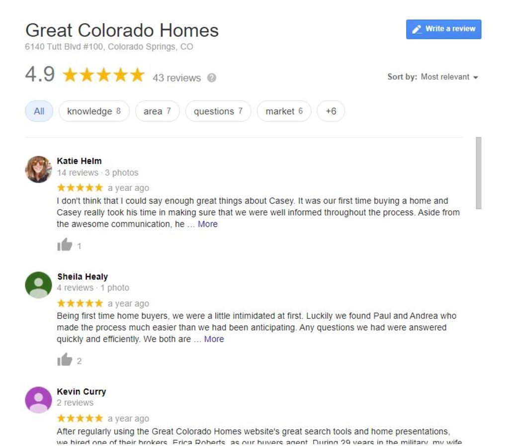 Realtor review examples.