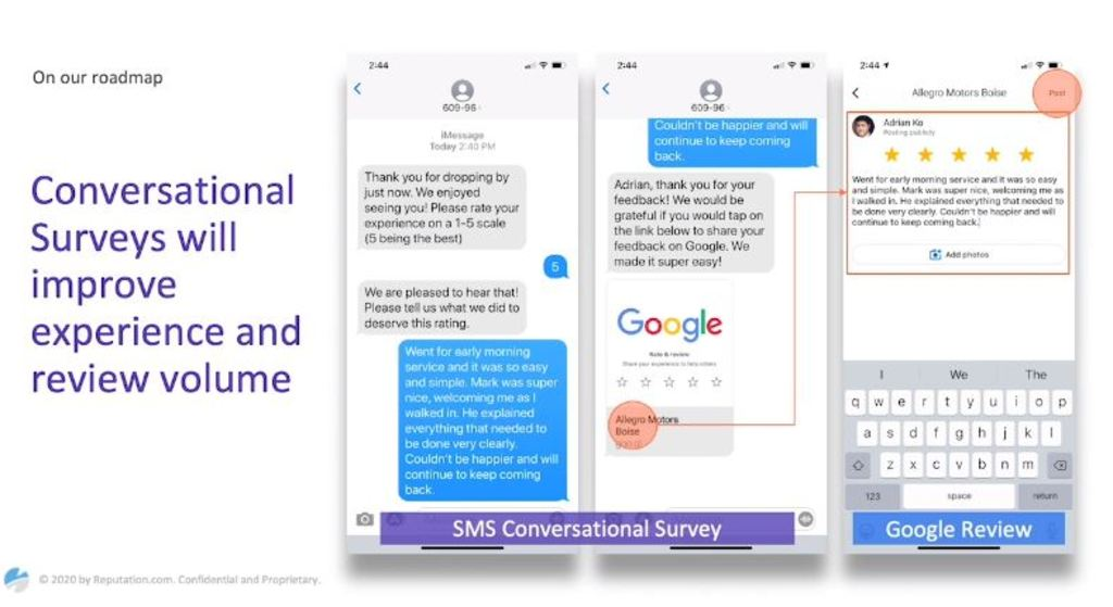 Conversational surveys will improve experience and review volume.